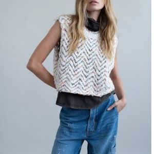 NWT Free People Vanilla Combo Lucy Sweater Vest